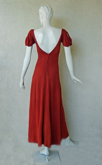 CHANEL 1930s COUTURE BIAS CUT RED EVENING DRESS image 6