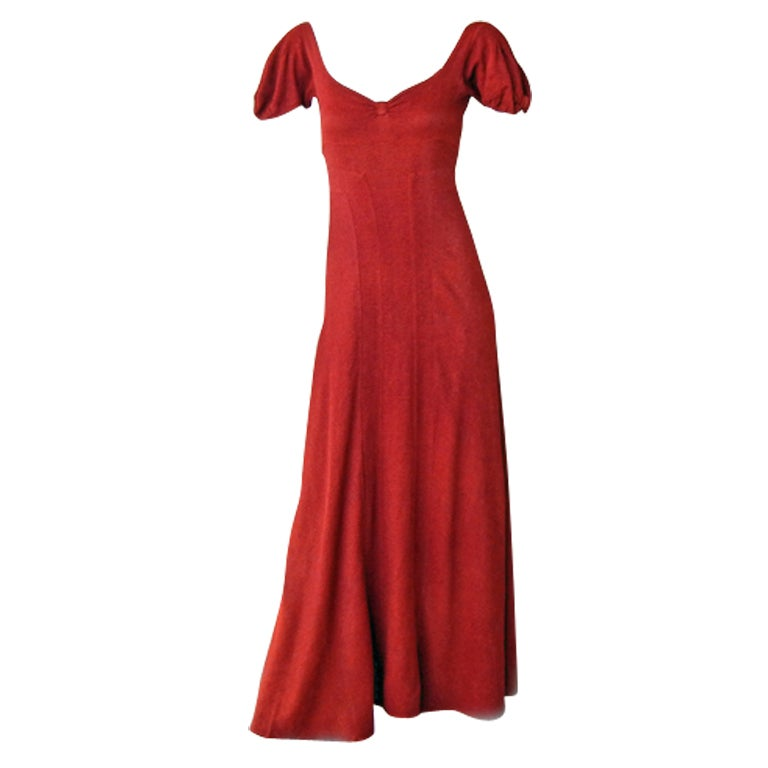 CHANEL 1930s COUTURE BIAS CUT RED EVENING DRESS