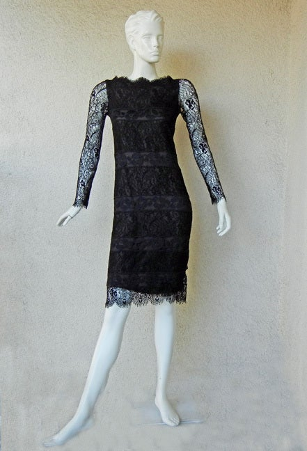 Authentic chanel haute couture black chantilly lace for Haute couture dress price