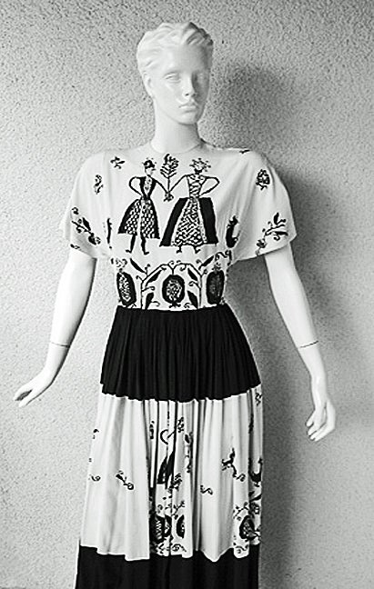 ADRIAN PENNSYLVANIA  DUTCH AMERICANA SILK PRINT DRESS image 2