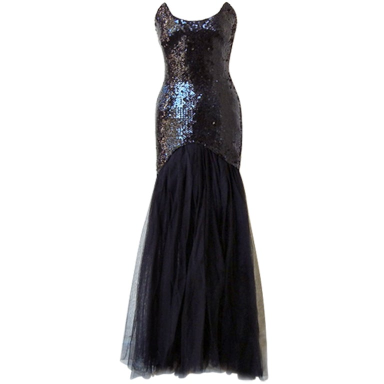 THIERRY MUGLER Solo in the Spotlight Beaded Tulle Gown  Rare For Sale