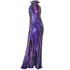ODICINI COUTURE RAINBOWN HANDBEADED BIAS CUT EVENING GOWN