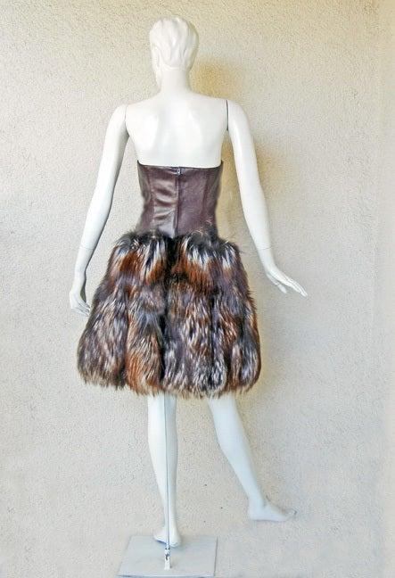 New! Alexander McQueen 2007 Genuine Red Fox Leather Bustier Dress In New Never_worn Condition For Sale In Los Angeles, CA