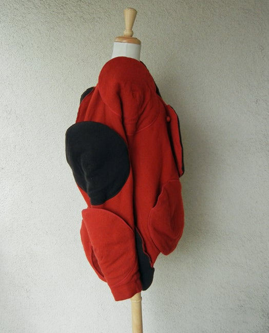 Red Rare Issey Miyake Wearable Met Museum Art Beret Coat for Collectors, Museums For Sale