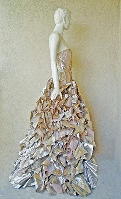 "Oscar de la Renta ""Gold Foil"" Beaded Lame Gown 4"