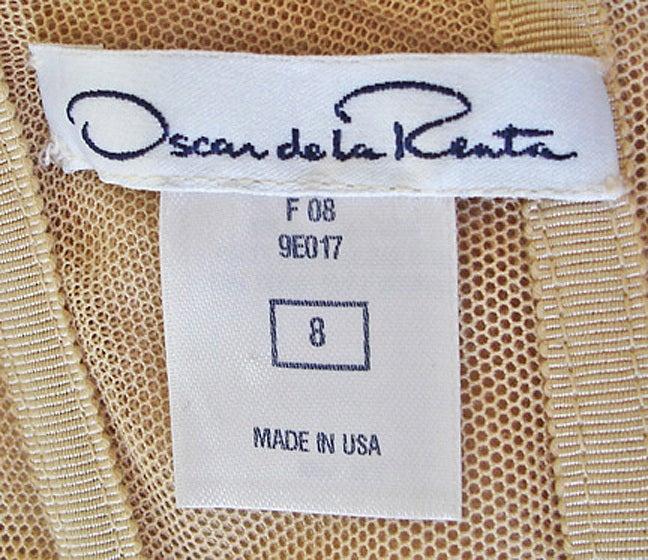 "Oscar de la Renta ""Gold Foil"" Beaded Lame Gown 5"