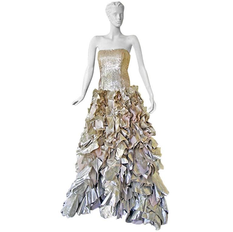 "Oscar de la Renta ""Gold Foil"" Beaded Lame Gown 1"