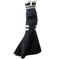 "Valentino Strapless Black & White Satin  ""red carpet"" Gown  New"