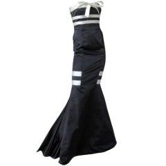 "Valentino Strapless Black & White Satin  ""red carpet"" Gown  New"