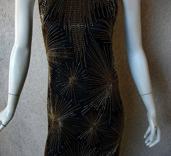 Published Halston Fireworks Evening Gown & Matching Jacket In Excellent Condition For Sale In Los Angeles, CA