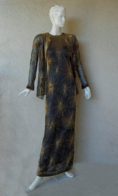 Published Halston Fireworks Evening Gown & Matching Jacket For Sale 2