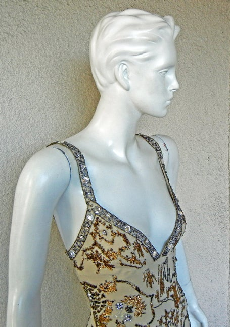 Gray Roberto Cavalli Glamour Girl Beaded Jeweled Oscar Worthy Gown For Sale