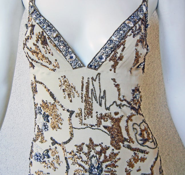 Roberto Cavalli Glamour Girl Beaded Jeweled Oscar Worthy Gown In Excellent Condition For Sale In Los Angeles, CA