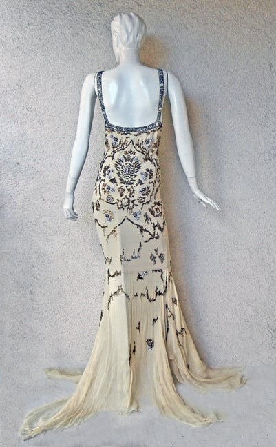 Roberto Cavalli Glamour Girl Beaded Jeweled Oscar Worthy Gown For Sale 3