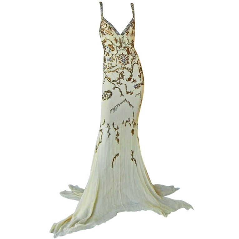 Roberto Cavalli Glamour Girl Beaded Jeweled Oscar Worthy Gown For Sale