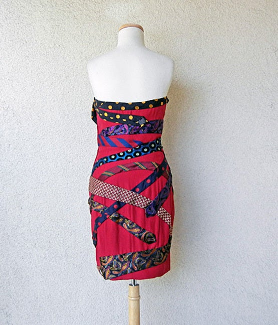 Franco Moschino Couture 80's  Silk Tie Dress In Excellent Condition For Sale In Los Angeles, CA