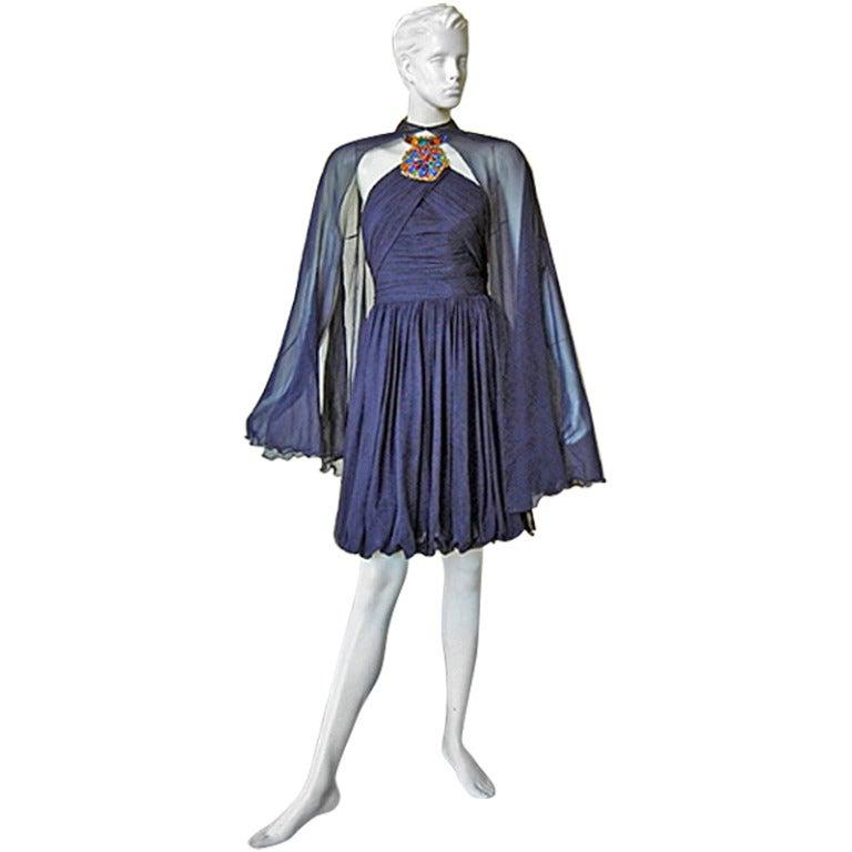 "Christian Lacroix Patou Haute Couture ""Joy"" Jeweled Dress with Cape, 1985 / 1986 For Sale"