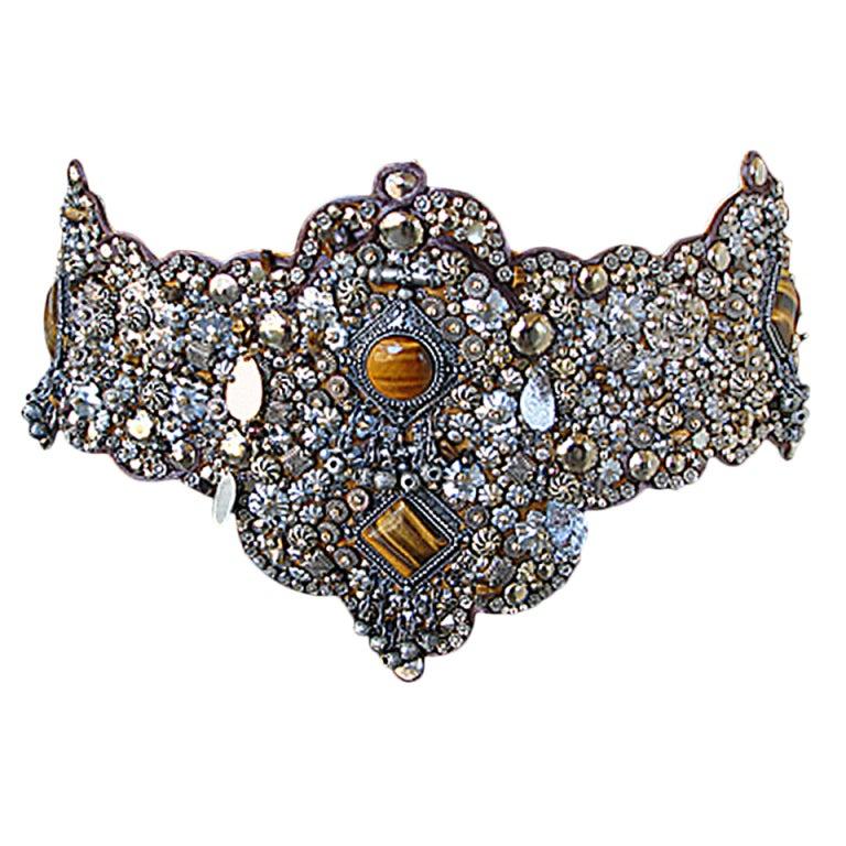 Oscar De La Renta Boho Chic Jeweled Ostrich Runway Belt