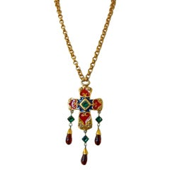 Christian Lacroix Enamel Jeweled Baroque Cross XL Necklace