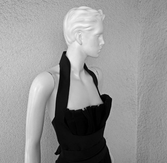 Yves Saint Laurent Halter Pleated Organza Swirl Gown 3