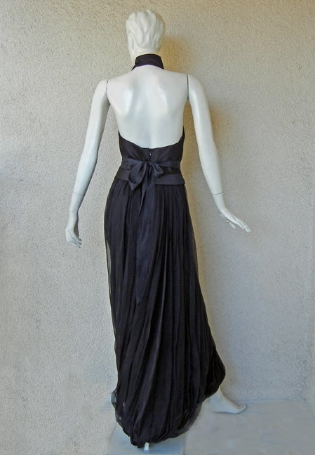 Yves Saint Laurent Halter Pleated Organza Swirl Gown 4