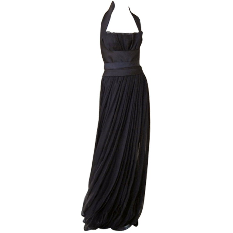 Yves Saint Laurent Halter Pleated Organza Swirl Gown 1