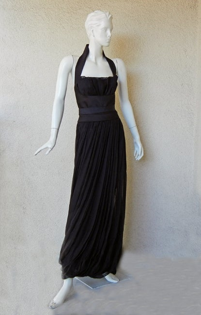 Yves Saint Laurent Halter Pleated Organza Swirl Gown 2