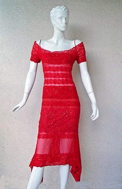 Gianfranco Ferre sexy siren red lace dress offered brand new and designed by Gianfranco Ferre prior to his death. Offered brand new with tags orig priced at $10,950.   Bias cut dress fashioned of red lace in combination with sheer red silk chiffon