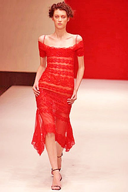 Gianfranco Ferre Luscious Red Beaded Lace Sheer Evening Dress In New Never_worn Condition For Sale In Los Angeles, CA