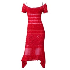 Gianfranco Ferre Luscious Red Beaded Lace Sheer Evening Dress