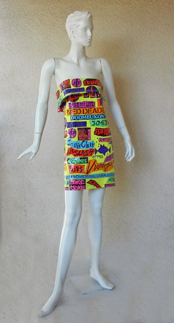 Brown 1988 Stephen Sprouse Rock Sticker Beaded Dress New Condition For Sale