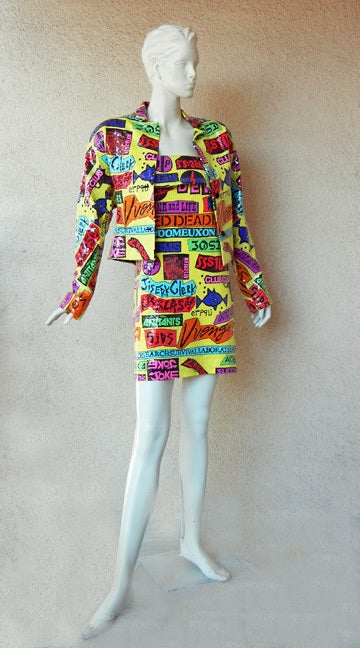 1988 Stephen Sprouse Rock Sticker Jacket from Club & Punk Rock 80's Scene In Excellent Condition For Sale In Los Angeles, CA