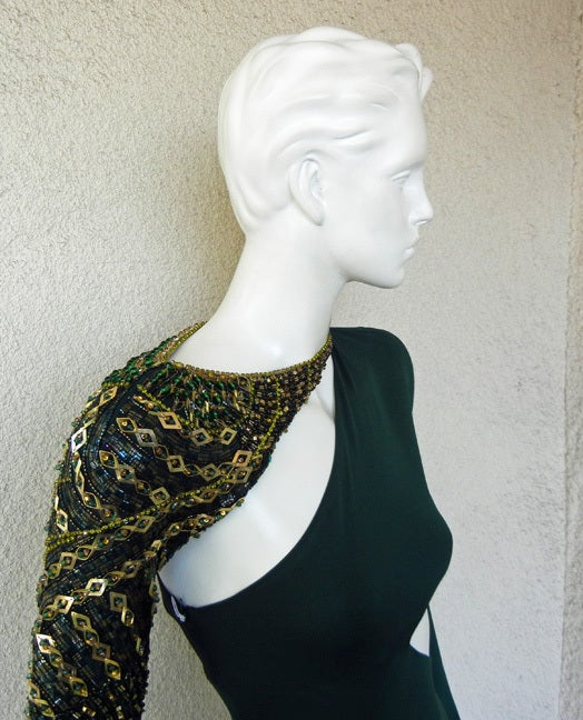 Emilio Pucci Dramatic Cut-Out Beaded Bias Cut Gown In Excellent Condition For Sale In Los Angeles, CA