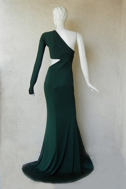 Emilio Pucci Dramatic Cut-Out Beaded Bias Cut Gown For Sale 3