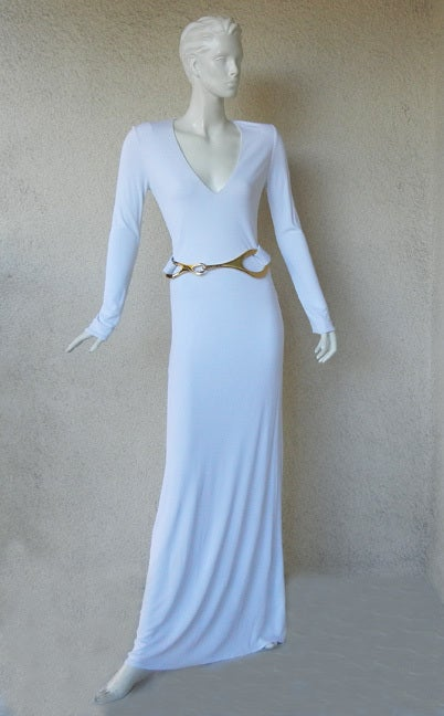 A Rare Iconic Gucci Tom Ford 1996 MInimalist White Jersey Gown 2