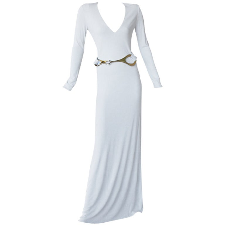 A Rare Iconic Gucci Tom Ford 1996 MInimalist White Jersey Gown 1