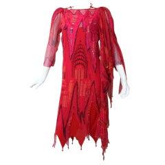 Rare Zandra Rhodes Empire State Bldg & Chrysler Bldg Dress