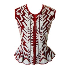 YSL/TOM FORD RUBY RED PASSEMENTERIE EMBROIDERED VEST IN BOOK