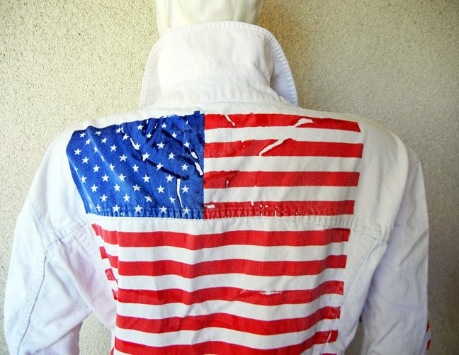 Dolce & Gabbana D&G Unisex Red White Blue Denim Jean Jacket and Jeans  In Excellent Condition For Sale In Los Angeles, CA
