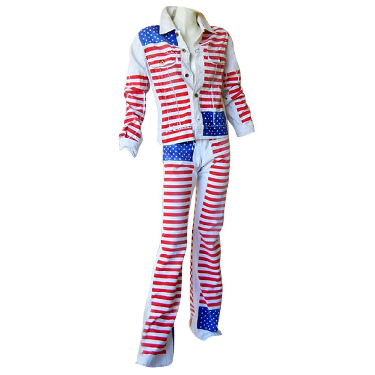 Dolce & Gabbana D&G Patriotic Unisex American Flag Denim Jacket and Jeans