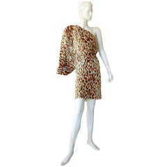 CHRISTIAN DIOR/J-LO 1 SHOULDER LEOPARD SILK DRESS