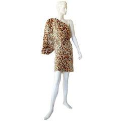 Christian Dior/J-Lo 1 Shoulder Leopard Silk Dress with Jeweled Topaz Belt