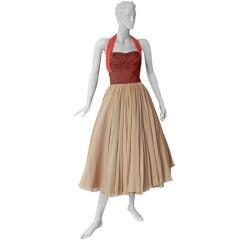Striking 1940's Schiaparelli Halter Colorblock Silk Cocktail Dress