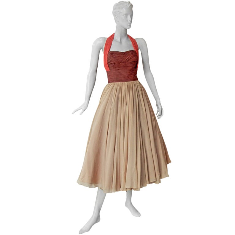 Striking 1940's Schiaparelli Halter Colorblock Silk Cocktail Dress