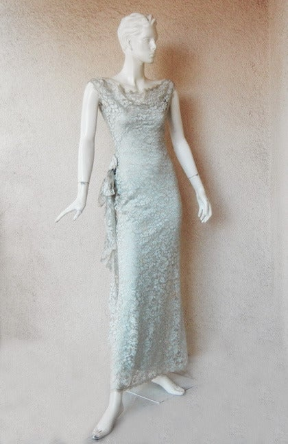Gray John Galliano Gloriously Gatsby for House of Dior Chantilly Lace Evening Dress For Sale