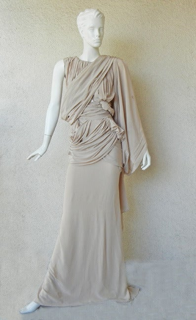 Gray House of Vionnet Iconic Classic Grecian Wrap Runway Dress Gown For Sale