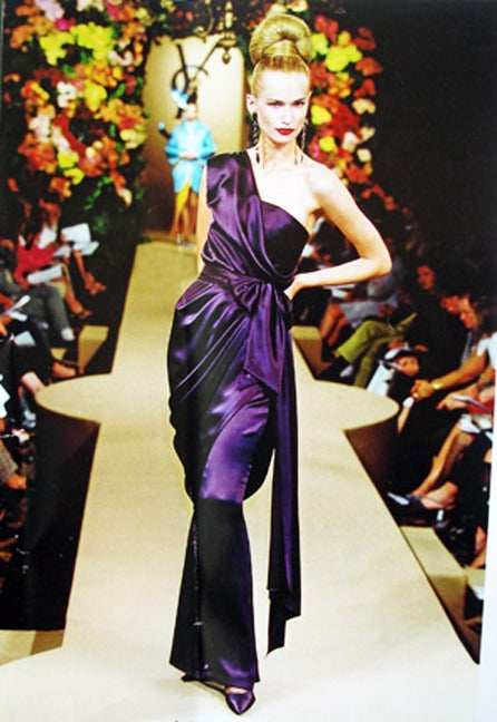 yves saint laurent haute couture runway one shoulder grecian drape gown at 1stdibs. Black Bedroom Furniture Sets. Home Design Ideas