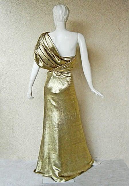 Beige Reem Acra One Shoulder Golden Goddess Red Carpet Gown For Sale