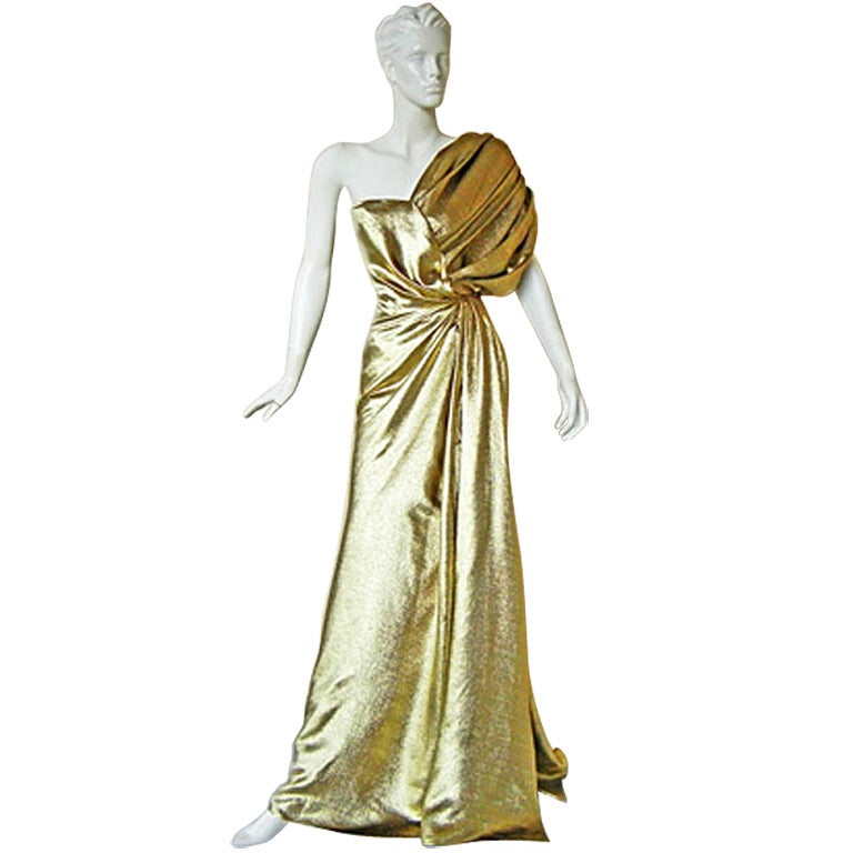 Reem acra one shoulder golden goddess red carpet gown for for Costume jewelry for evening gowns