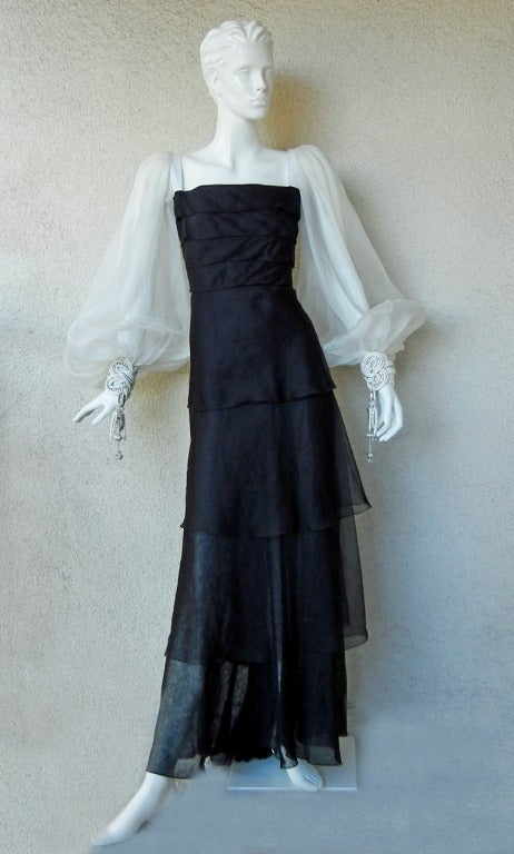 Valentino Beautiful Black & White Beaded Silk Organza Gown 2